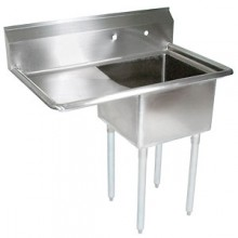 "One 18"" x 18"" x 12"" Tub One 18"" Drainboard 18 Gauge 304 Stainless Steel Economy Scullery Sink"