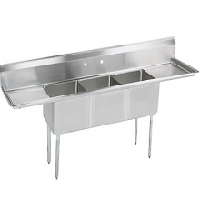 "Three 10"" x 14"" x 10"" Tub Two 15"" Drainboard Space Saver Sink"