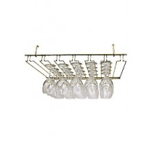 "24"" W Heavy Wire Overhead Glass Rack - Brass"