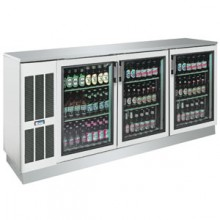 "84"" Wide Stainless Glass Door Back Bar Cooler"