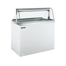 "90 3/4"" W 28 Tub Curved Glass Front Lighted Dipping Cabinet"