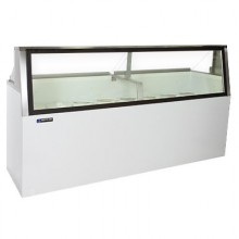 "90 3/4"" W 28 Tub Low Glass Lighted Dipping Cabinet"
