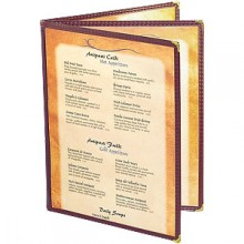 "8 1/2"" x 11"" Six View Clear Sewn Edge Book Jacket Menu"