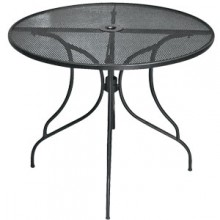 "30"" Round Wrought Iron Outdoor Mesh Table Top with Butterfly Base"