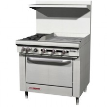 "36"" W 2 Burner 24"" Griddle 1 Oven S Series Gas Restaurant Range"