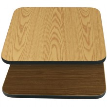 "24"" W x 24"" D x 1"" H Double-Sided Table Top - Black Edge Oak / Walnut Laminate"