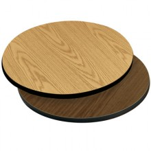 "24"" Diameter x 1"" H Double-Sided Table Top - Brown Edge Oak / Walnut Laminate"