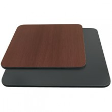 "30"" W x 30"" D x 1"" H Double-Sided Table Top - Black Edge Black / Mahogany Laminate"