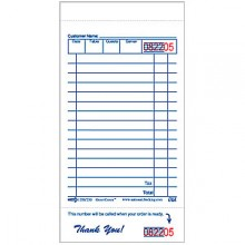 15 Line Single Paper Single Sided Guest Check - 100 Checks/Book, 100 Books/Pack