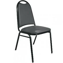 "Round Back 1 1/2"" Seat Stack Chair – Black"