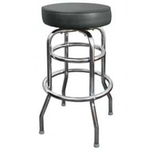 Chrome Backless Double Ring Swivel Stool - Black