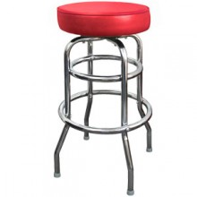 Chrome Backless Double Ring Swivel Stool - Red