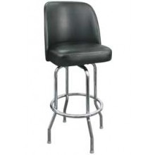 Chrome Full Back Classic Single Ring Swivel Bar Stool - Black