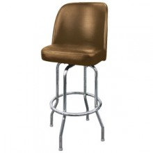 Chrome Full Back Classic Single Ring Swivel Bar Stool - Mocha