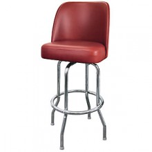 Chrome Full Back Classic Single Ring Swivel Bar Stool - Burgundy