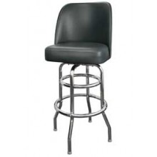 Chrome Full Back Classic Double Ring Swivel Bar Stool - Black