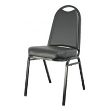 "Round Back 2 1/2"" Seat Stack Chair – Black"