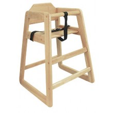Wood High Chair with Natural Finish