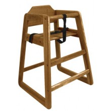 Wood High Chair with Walnut Finish