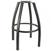 Black Square Tube Bar Stool Frame with Pitched Swivel