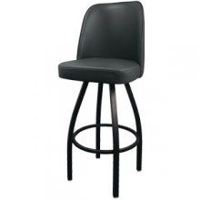Black Full Back Square Tube Swivel Ring Stool