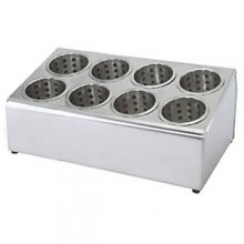 Two Tier, Eight Hole Stainless Steel Flatware Holder