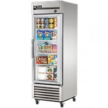 23 Cubic Ft One Glass Full Height Door Reach-In Freezer - Stainless Steel and Aluminum