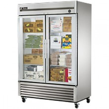 49 Cubic Ft Two Glass Full Height Door Reach-In Freezer - Stainless Steel and Aluminum