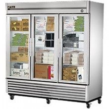 72 Cubic Ft Three Glass Full Height Door Reach-In Freezer - Stainless Steel and Aluminum