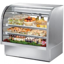 "48 1/4"" W 23.5 Cubic Ft Stainless Steel Curved Glass Deli Case"