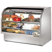 "60 1/4"" W 30 Cubic Ft Stainless Steel Curved Glass Deli Case"