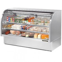 "72 1/4"" W 37.1 Cubic Ft Stainless Steel Curved Glass Deli Case"
