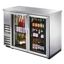 "49 1/8"" Wide Narrow Depth Stainless Steel Counter top Glass Door Back Bar Cooler - Stainless"