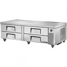 "72 3/8"" W Four Drawer Eight Pan Flush Top Refrigerated Chef Base"