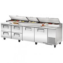 "119 1/4"" W Two Door Four Drawer Pizza Preparation Table"