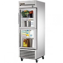 23 Cubic Ft Two Glass Half Door Reach-In Refrigerator - Stainless Steel and Aluminum