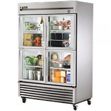 49 Cubic Ft Four Glass Half Door Reach-In Refrigerator - Stainless Steel and Aluminum