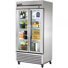 35 Cubic Ft Two Glass Full Height Door Reach-In Refrigerator - Stainless Steel and Aluminum
