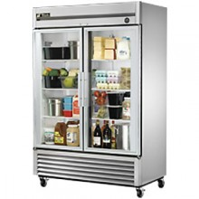 49 Cubic Ft Two Glass Full Height Door Reach-In Refrigerator - Stainless Steel and Aluminum
