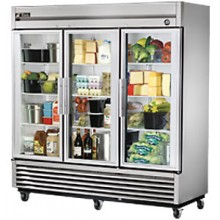 72 Cubic Ft Three Glass Full Height Door Reach-In Refrigerator - Stainless Steel and Aluminum