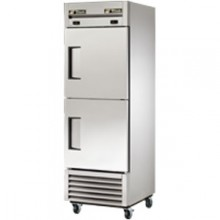 11/8 Cubic Ft Two Half Solid Door Dual Temperature Reach-In - Stainless Steel and Aluminum
