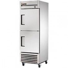 23 Cubic Ft Two Solid Half Door Reach-In Freezer - Stainless Steel and Aluminum
