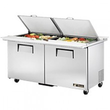 "60 3/8"" W 2 Door 24 Pan Mega Top Sandwich/Salad Unit w/ Two Cutting Boards"