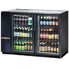 "47 1/8"" Wide Narrow Depth Galvanized Top Glass Door Back Bar Cooler - Black"