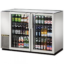 "47 1/8"" Wide Narrow Depth Galvanized Top Glass Door Back Bar Cooler - Stainless"
