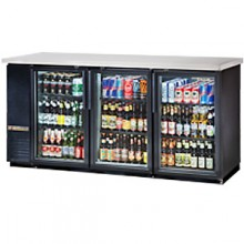 "73 1/8"" Wide Narrow Depth Stainless Steel Counter top Glass Door Back Bar Cooler - Black"