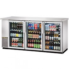 "73 1/8"" Wide Narrow Depth Stainless Steel Counter top Glass Door Back Bar Cooler - Stainless"