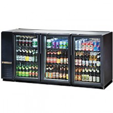 "71 7/8"" Wide Narrow Depth Galvanized Top Glass Door Back Bar Cooler - Black"