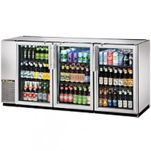 "71 7/8"" Wide Narrow Depth Galvanized Top Glass Door Back Bar Cooler - Stainless"