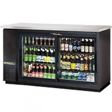 "61 1/8"" Wide Black Exterior Sliding Glass Door Back Bar Cooler"